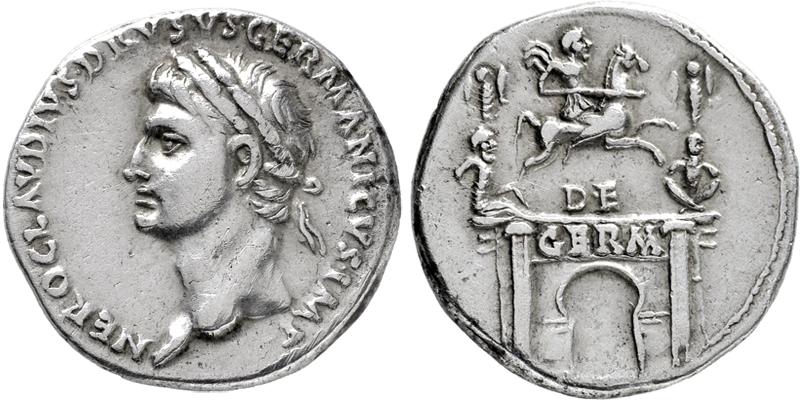 Römisches Kaiserreich, Nero Claudius Drusus, Dinar, geprägt unter Claudius, 3,77g