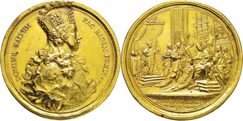 Vergoldete Bronzemedaille auf die Krönung Kaiser Josephs II.