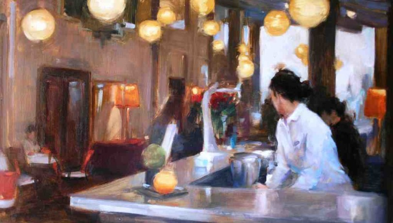 Im Angebot der Galería de Arte María Aguilar: Mònica Castanys' Gemälde »Gallery Hotel« von 2015 (Foto: Galería de Arte María Aguilar)