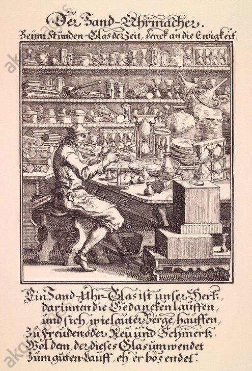 'Der Sand-Uhrmacher'. Kupferstich von Christoph Weigel (1654- 1725). Aus: Abbildung und Beschreibung der gemeinnützlichen Hauptstände, Regensburg 1698. (Foto: Deutsche Fotothek)