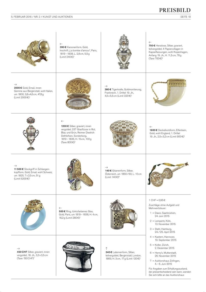 Preisbild mit vielen Beispielen und Auktionsergebnissen von Riechdöschen