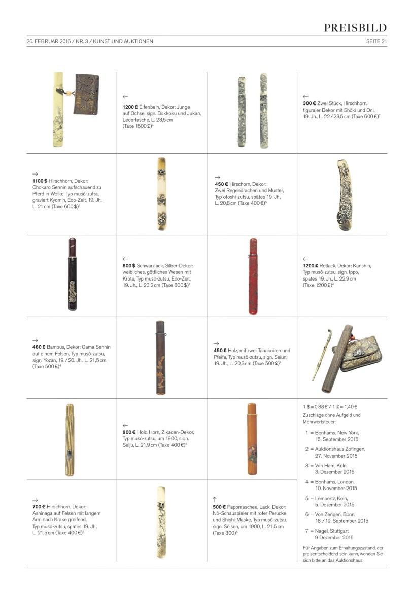 Das Preisbild mit vielen Beispielen und Auktionsergebnissen solcher Kiseruzutsus finden Sie in der Kunst und Auktionen Nr. 3 / 2016.