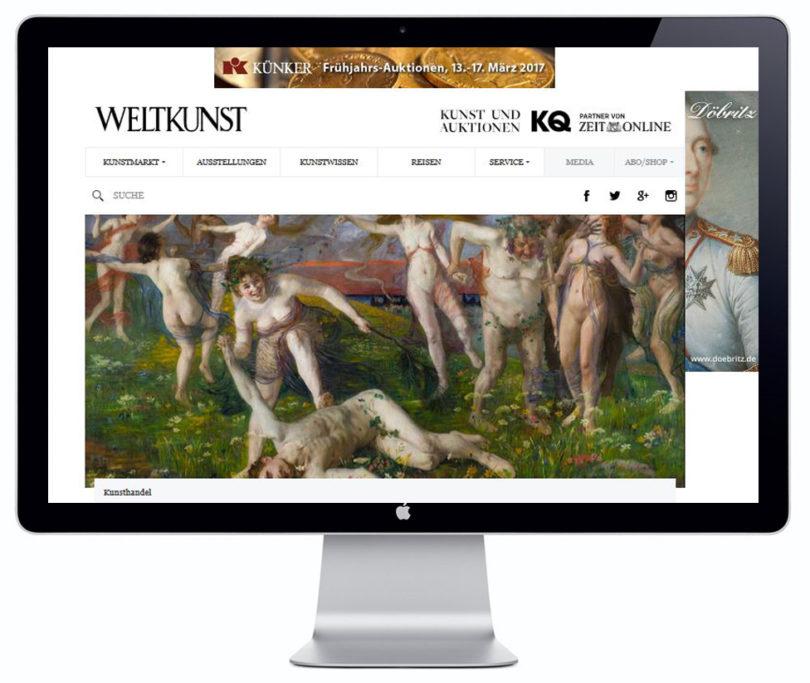 WELTKUNST Online Desktopansicht