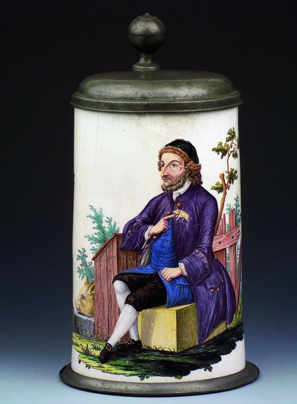 Haus malerkrug mit dem Porträt eines Juden, Bayreuth um 1765, Sammlung Neuner
