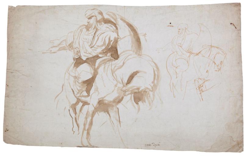 Peter Paul Rubens (1577-1640), Reiter mit Turban im Gefecht, Tuschezeichnung, verso, 28,4x47,8cm, Taxe 300.000 Euro (Foto: Bernaerts, Antwerpen)