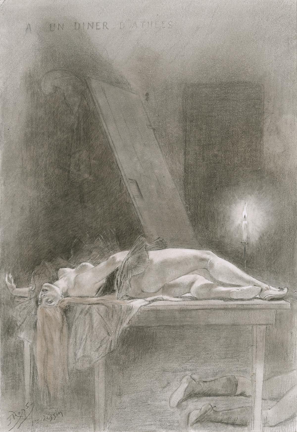 Félicien Rops, Zeichnung, um 1879/85 (Foto: Le Claire)