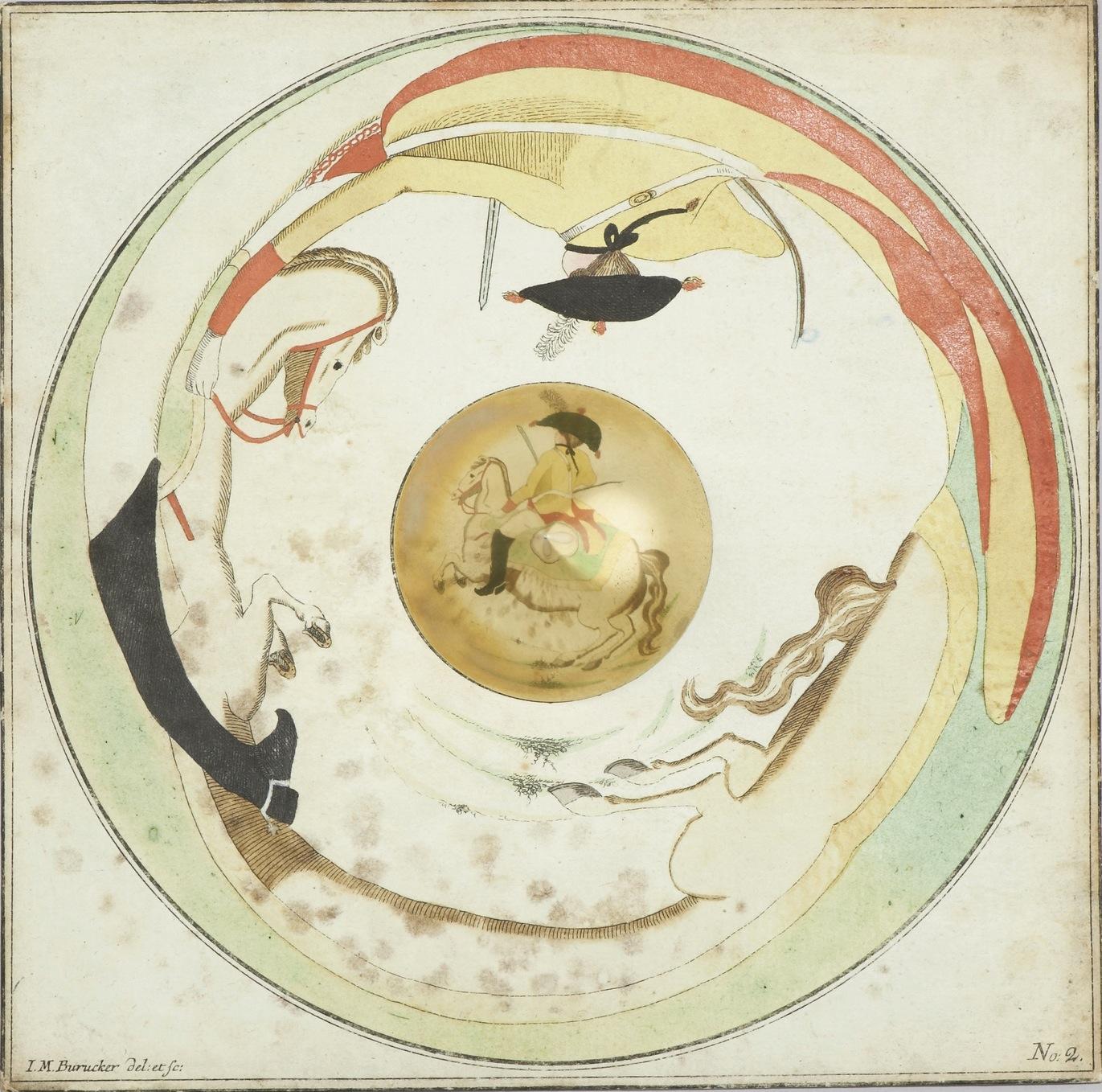 Johann Michael Buruck, Anamorphosen mit Kegelspiegel, um 1790/1805, Serie von sechs Motiven, Sammlung Germanisches Nationalmuseum (Foto: Germanisches Nationalmuseum Nürnberg, Studio Messberger)