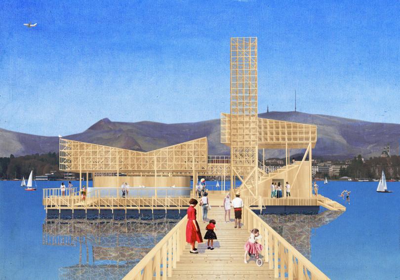 Die Dokumentationsvideos der Manifesta 11 werden auf einem eigens geschaffenen Pavillon auf dem Zürichsee gezeigt (Foto: ETH Studio Emerson)