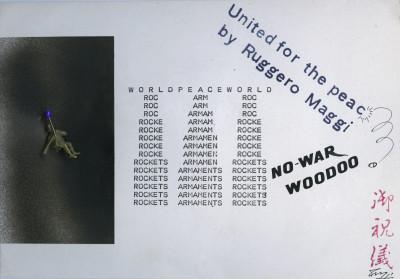 Eine von Ruth Wolf-Rehfeldt in Kollaboration mit Ruggero Maggi gestaltete Karte aus den friedensbewegten 1980ern (Foto: Courtesy the artist & Chert, Berlin)