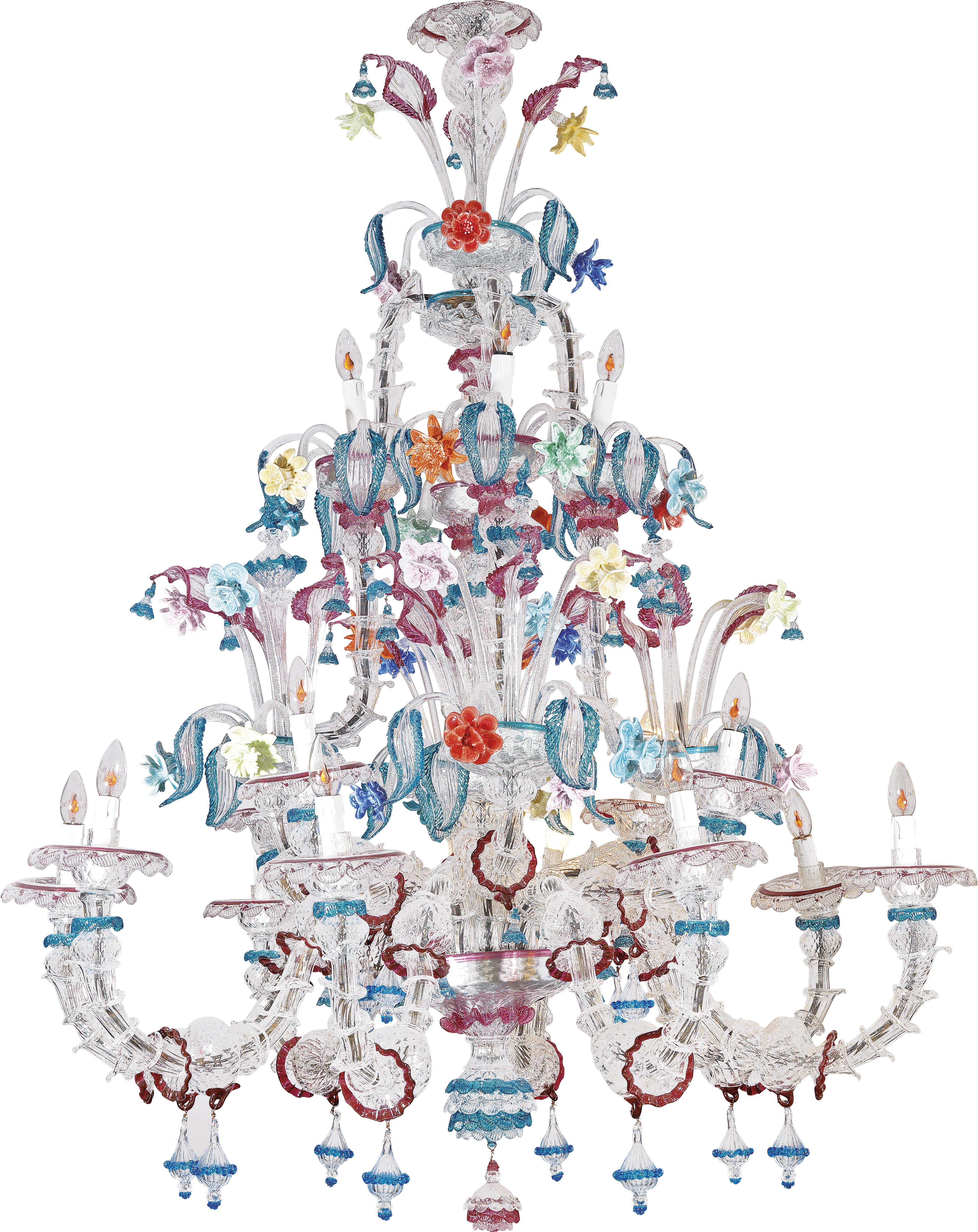 Prachtexemplar mit den typischen Glasröhren und buntem Dekor, 1. Hälfte 20. Jh. Der Muranolüster erzielte 2011 im Dorotheum 61.300 Euro (Foto: Dorotheum, WIen)