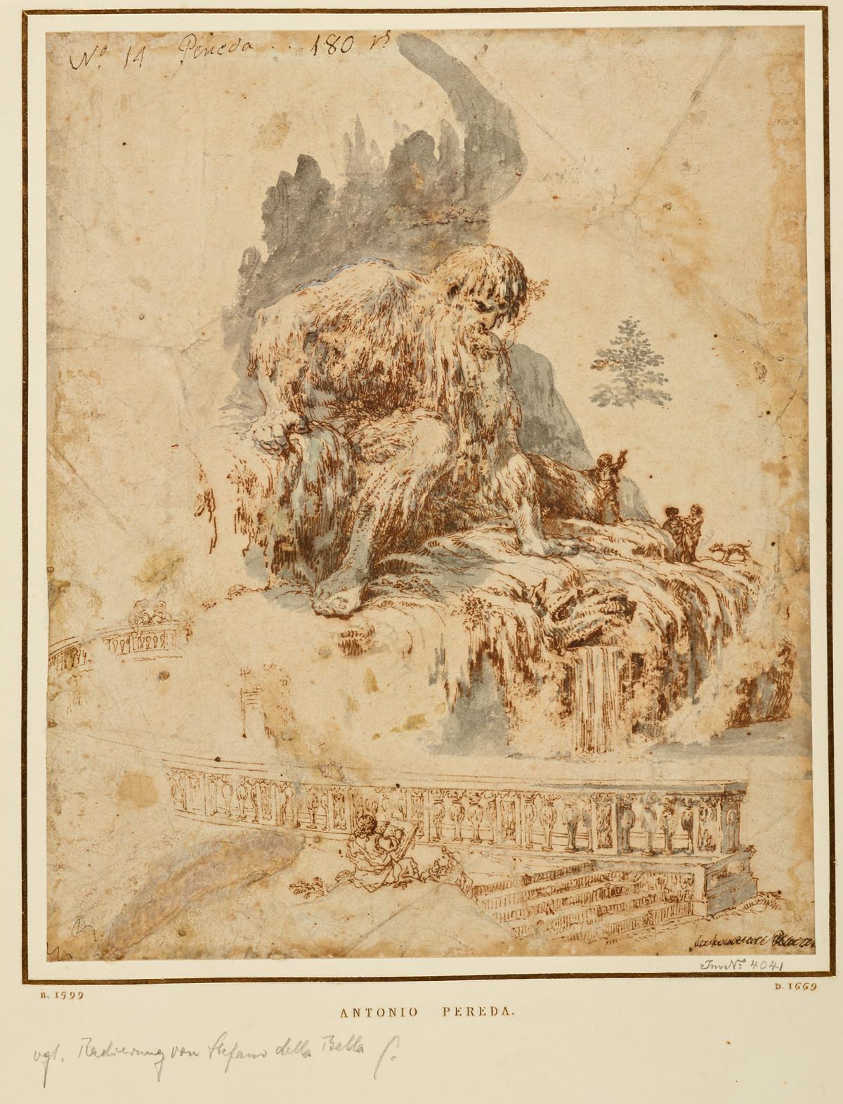 Antonio de Pereda: Der Künstler vor Gianbolognas Appennino, 1665-1678?, © Staatliche Museen zu Berlin, Kupferstichkabinett, KdZ 28977 (Foto: Volker-H. Schneider)