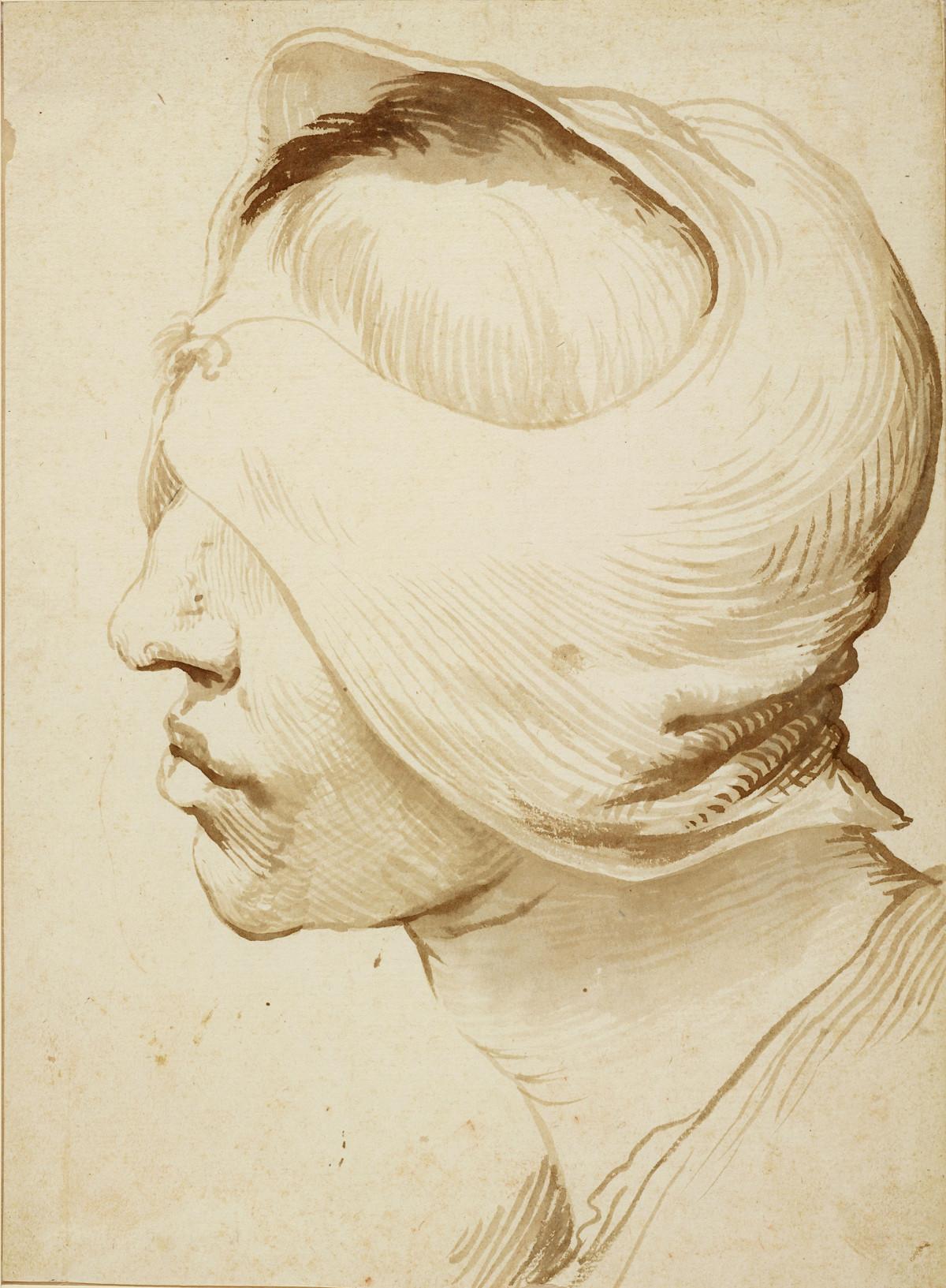 Jusepe de Ribera: Kopf mit Verband, ca. 1630, © Staatliche Museen zu Berlin, Kupferstichkabinett (Foto: Volker-H. Schneider)