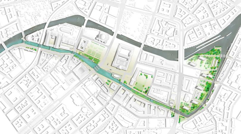 Mittig ist auf dem Plan der grüne Pflanzenfilter erkennbar, der den Spreekanal für das Flussbad an der Museumsinsel säubern würde (Foto: Axel Schmidt, realities:united/Flussbad Berlin e.V.)