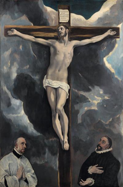 El Greco: Christus am Kreuz mit zwei Stiftern, um 1580 (Foto: Bayerische Staatsgemäldesammlungen München, Alte Pinakothek)