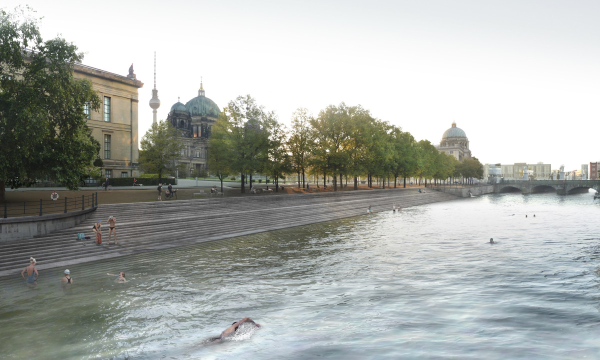 Flussbad an der Museumsinsel, Visualisierung des Einstiegs am Alten Museum (Foto: Axel Schmidt, realities:united/Flussbad Berlin e.V.)