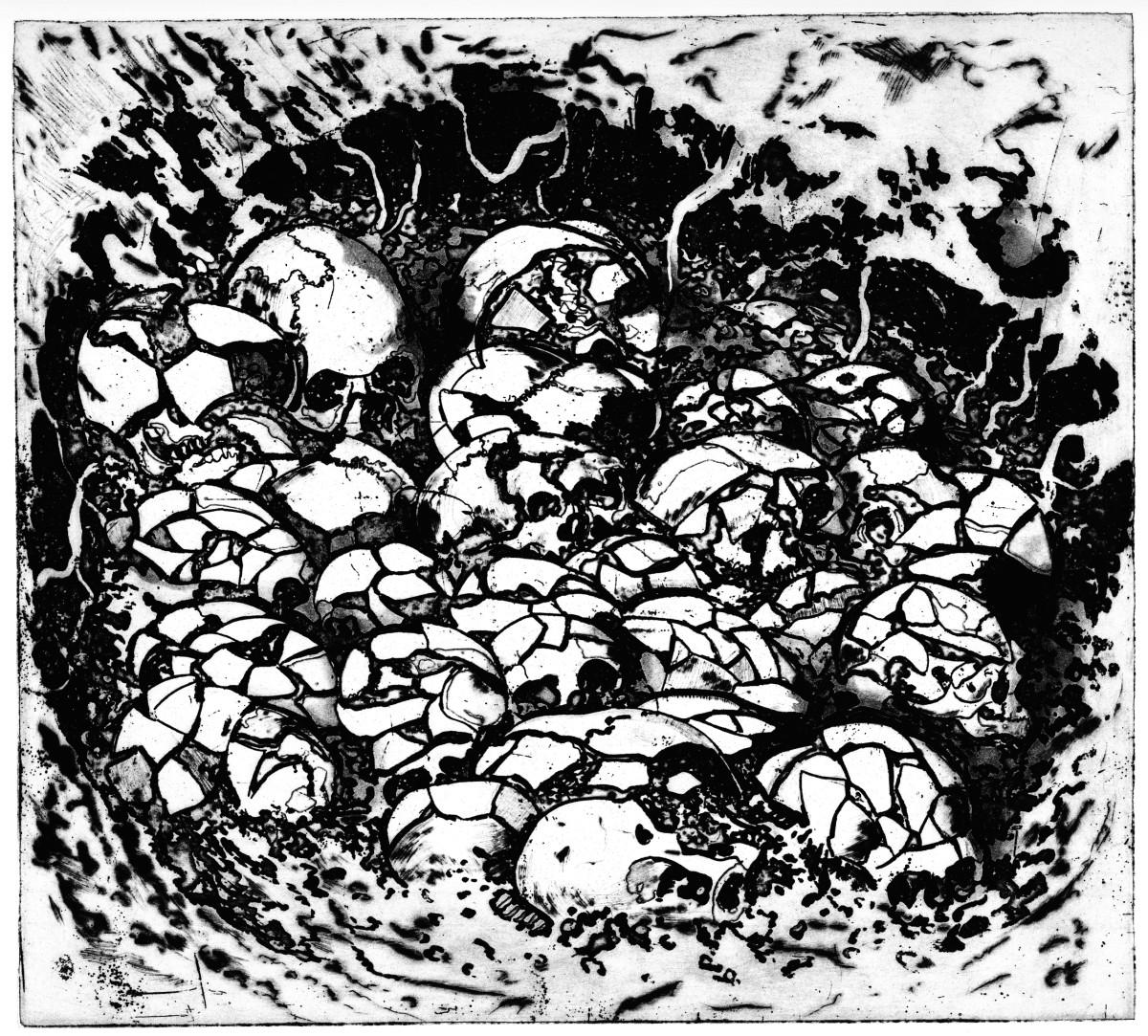 """Die Radierung """"Schädelnest des Mesolithikum"""