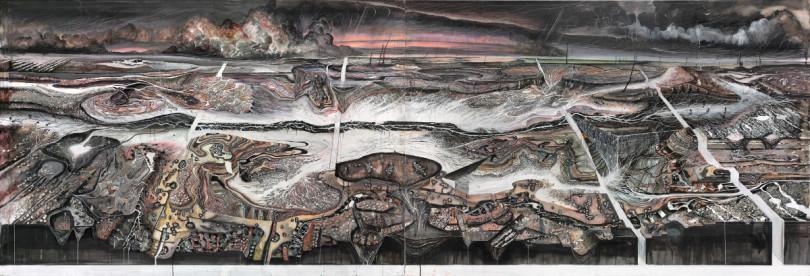 Die monumentale Landschaft in Tusche, Gouache und Buntstift von Michael Wutz