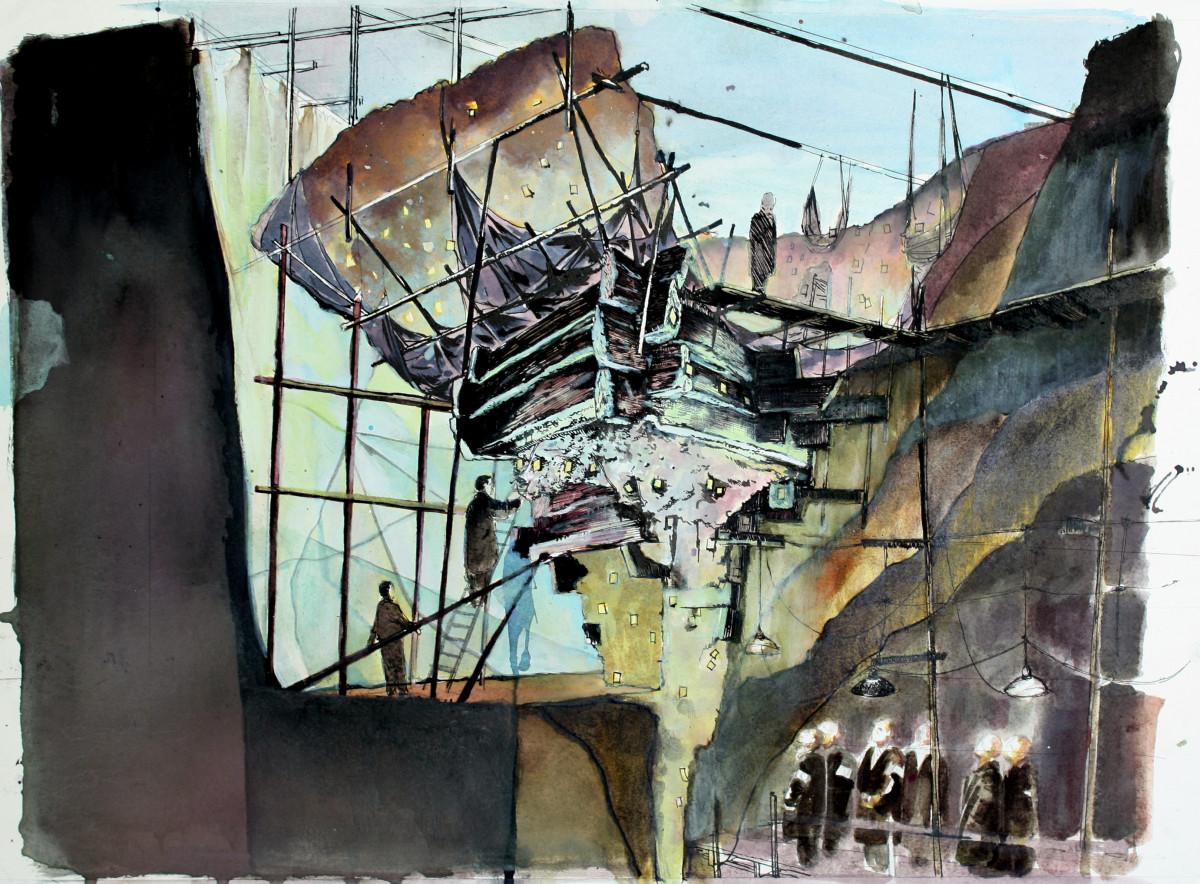 """Die Tuschezeichnung """"Besichtigung der Grabung `Roter Brunnen´, 1937"""