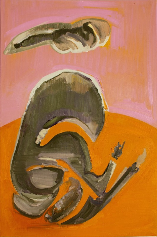 """Tina Oelker """"Tageshase # 0580"""", 2014, Öl auf Leinwand, 60 x 40 x 5 cm, Aus der Serie: Hasenmanufaktur Hamburg, 1ooo Hasen, limited edition (Foto: Polizei Berlin)"""