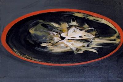 """Tina Oelker """"QUERSCHNITT"""", 2014, Öl auf Leinwand, 45 x 30 x 5 cm"""