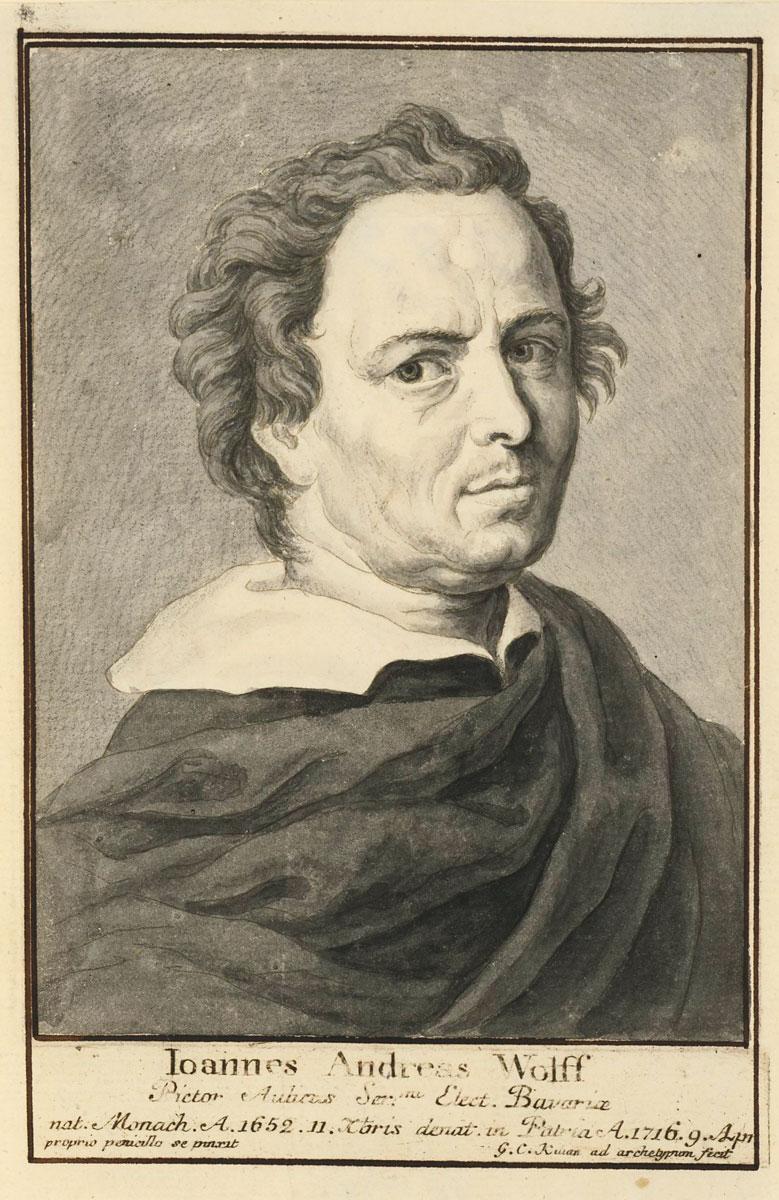 Johann Andreas Wolff schuf sein Selbstbildnis um 1700 (Staatliche Graphische Sammlung, München).