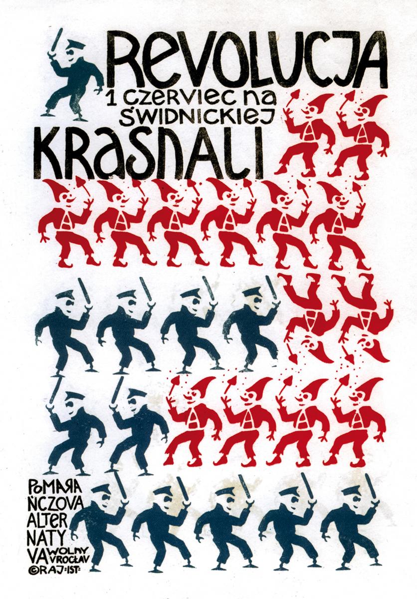 Jacek 'Ponton' Jankowski, Zwergenrevolution, 1988, Poster der Orangen Alternative