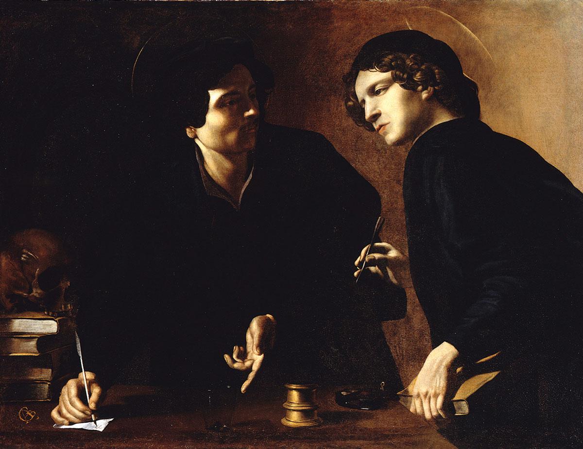 Giovanni Battista Caracciolo, genannt Battistello, gilt als erster Caravaggist. Sein Doppelporträt könnte man auch als Ballett für zwei Antlitze und vier Hände in Helldunkel interpretieren (Foto: Wolfgang Stahr; Gemäldegalerie, Staatliche Museen zu Berlin, Preußischer Kulturbesitz)
