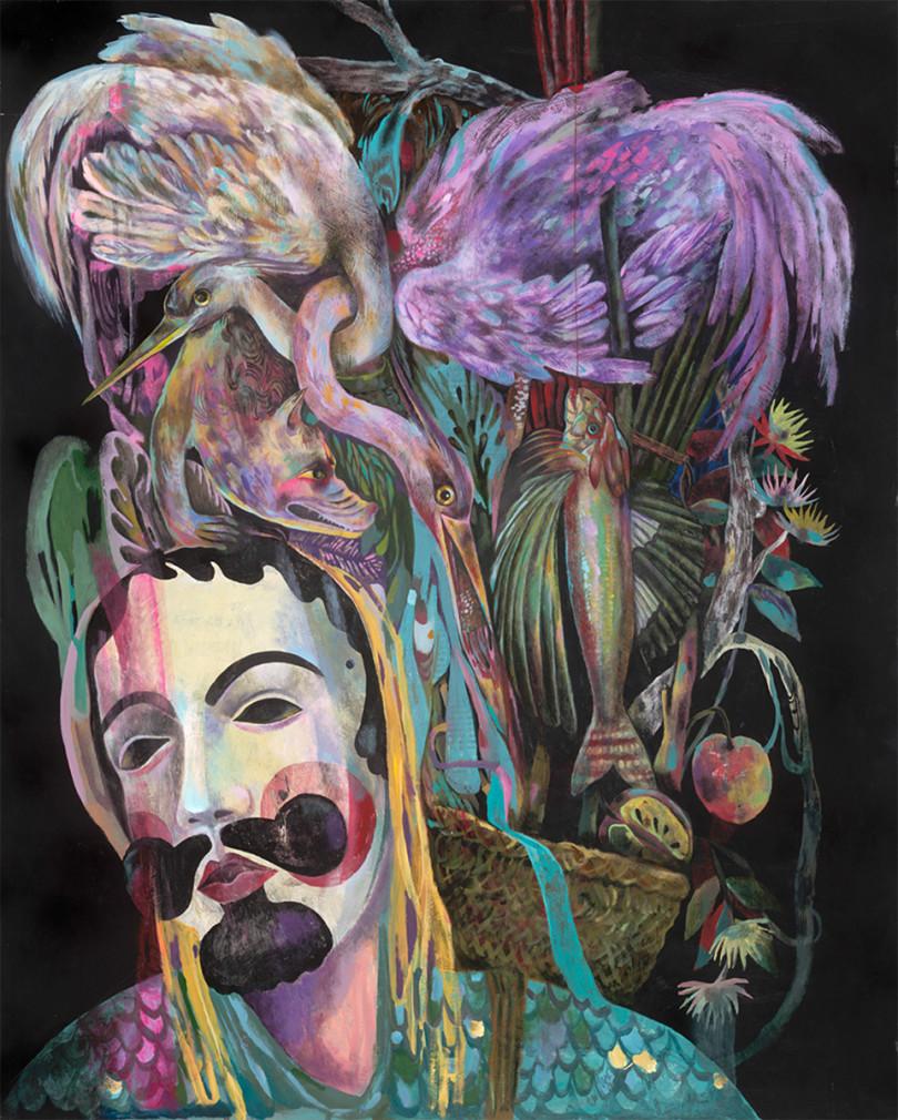 Olaf Hajek: Beute, 2016 Acrylic on Wood 100 x 80 cm (Foto Anna Jill Lüpertz Gallery)