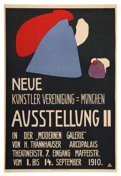 Wassily Kandinsky gestaltete 1910 das Plakat zur zweiten Ausstellung in der Neuen Künstlervereinigung München in der Galerie Thannhauser (Foto: Die neue Sammlung, The Design Museum München)