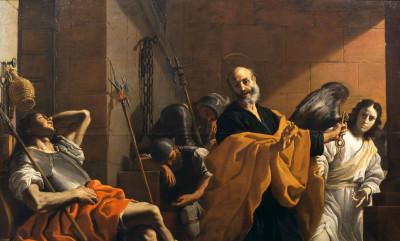 Ein Engel führt Petrus an den schlafenden Wächtern vorbei aus dem Gefängnis. Mattia Preti malte das Bild um 1665, heute gehört es der Akademie der bildenden Künste in Wien (Foto: Gemäldegalerie der Akademie der bildenden Künste Wien, Wien)