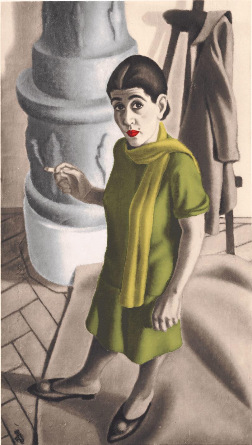 Bettina Ehrlich-Bauer: Selbstporträt, 1928, zeitgenössische Fotografie nach dem verschollenen Gemälde (nachkoloriert), Archiv des Belvedere, Wien, (Foto: Bruno Reiffenstein)