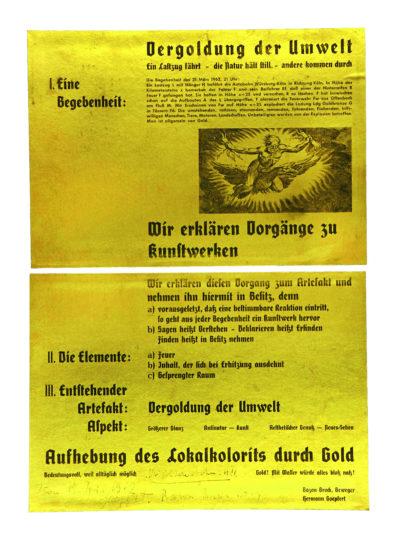 Flugblatt von Bazon Brock und Hermann Goepfert, um 1962