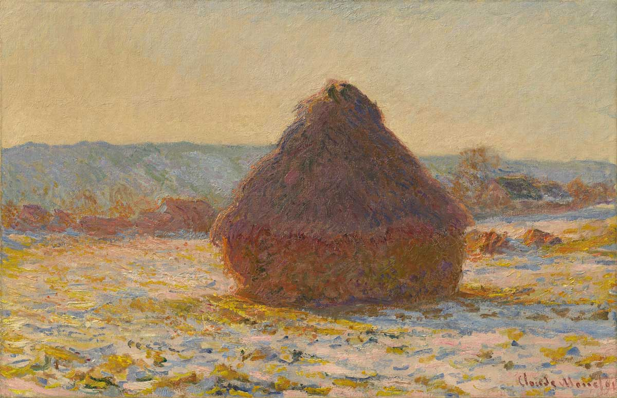 Claude Monet: Getreideschober, Schnee, Sonnenlicht, 1891, Privatsammlung