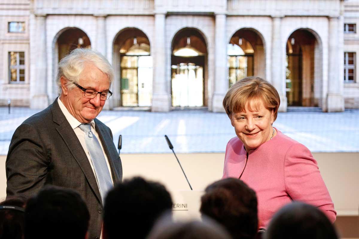 Hasso Plattner und Angela Merkel bei der Eröffnung des Museums Barberini