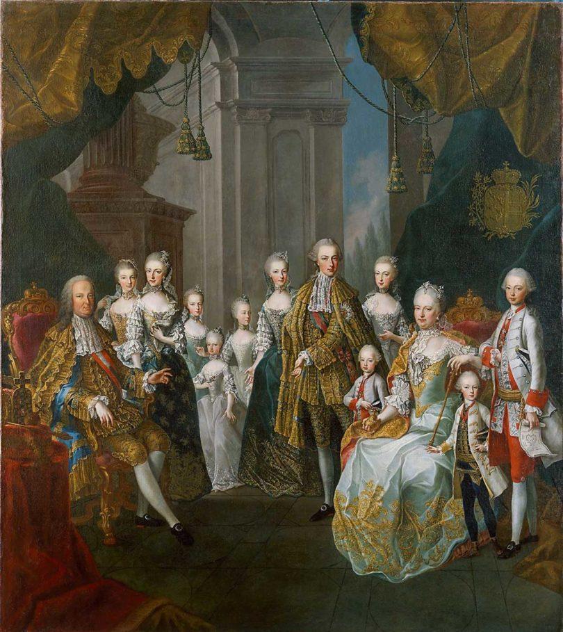 Gemälde: Martin van Meytens (Schule), Franz I. Stephan und Maria Theresia mit elf Kindern