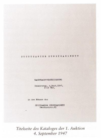 Katalog zur ersten Auktion im Stuttgarter Kunstkabinett, 1947, (Foto: www.kettererkunst.de)