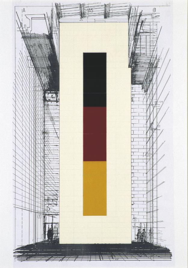 Für die hohe Seitenwand im Foyer des Berliner Reichstags experimentierte Richter mit Bildern von KZ-Häftlingen. Am Ende realisierte er aber drei Glastafeln in den Bundesfarben (Foto: Gerhard Richter, 2015)