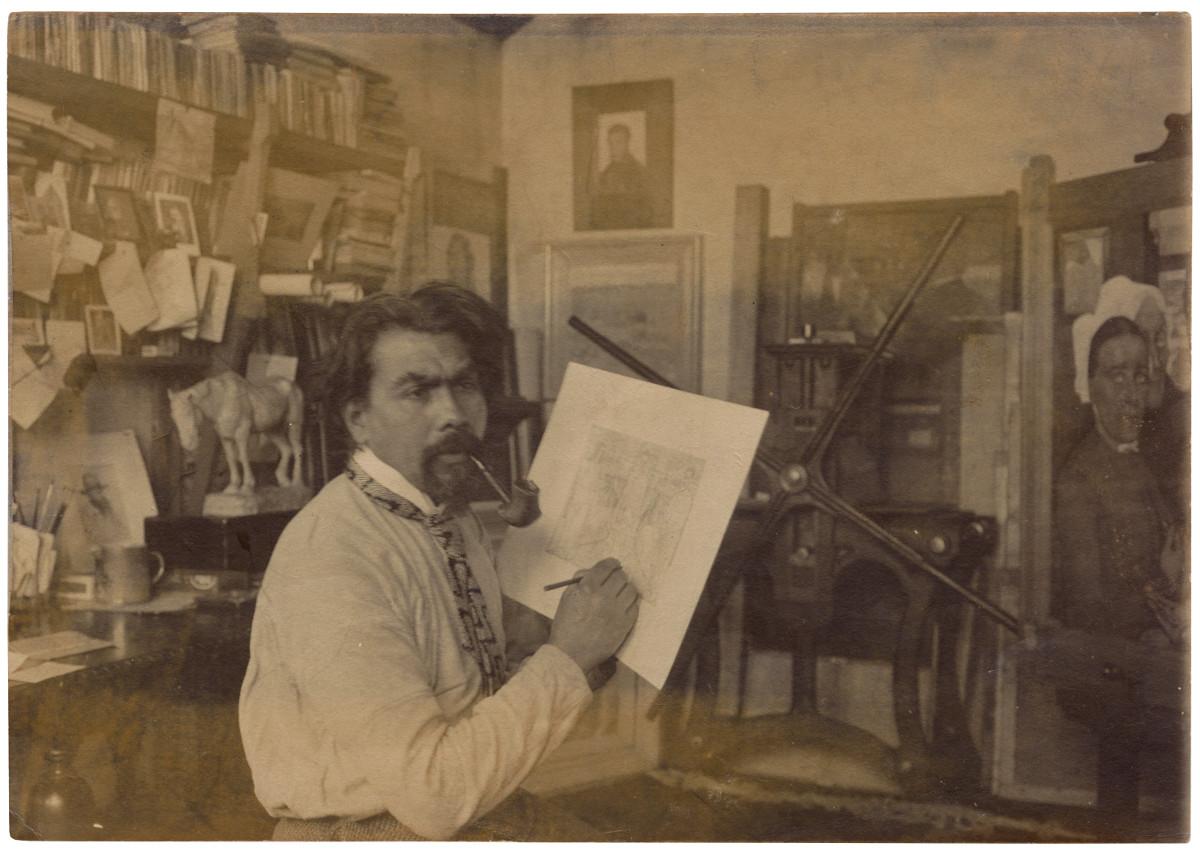 Der Künstler in seinem Amdsterdamer Atelier, um 1904 (Foto: Sammlung Gemeentemuseum Den Haas)