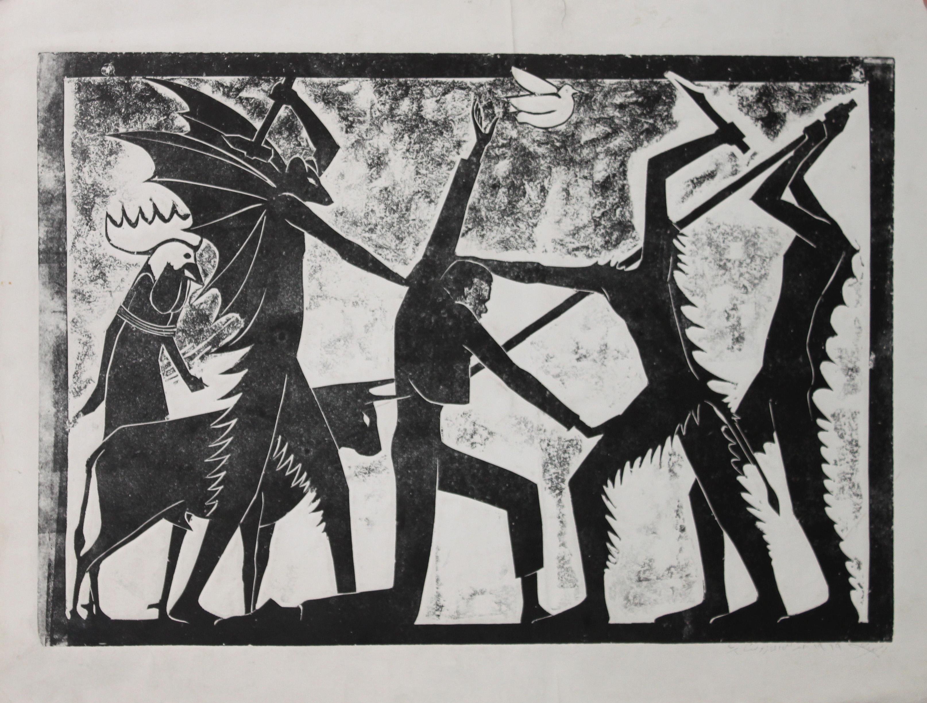 Moustafa Al Hallaj, ohne Titel, Holzschnitt, 1969, angeboten von der Agial Art Gallery, Beirut, auf der Art Dubai Modern (Foto: The artist and Agial Art Gallery)