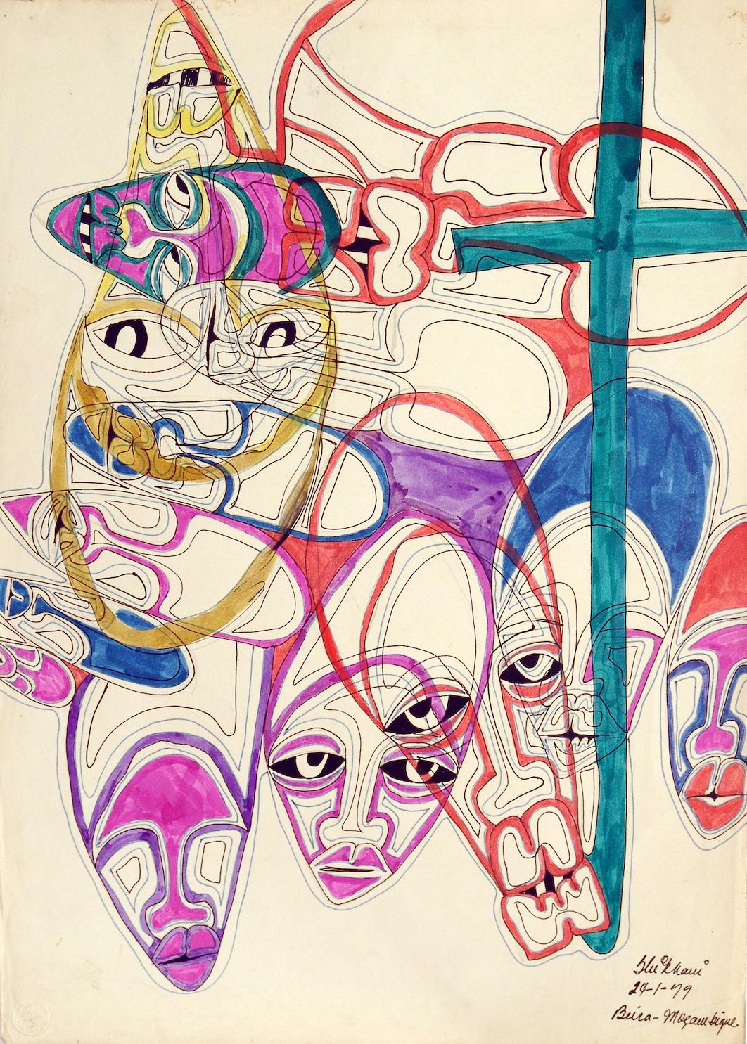 Ernesto Shikhani, ohne Titel, Mischtechnik, 1979, angeboten von der Perve Galeria, Lissabon, auf der Art Dubai Modern (Foto: Perve Galeria)