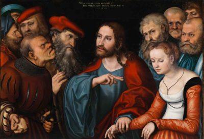 Lucas Cranach d.Ä., Christus und die Ehebrecherin, 1532 (Foto: Dénes Józsa/Szépmüvészeti Múzeum, Budapest, 2017)