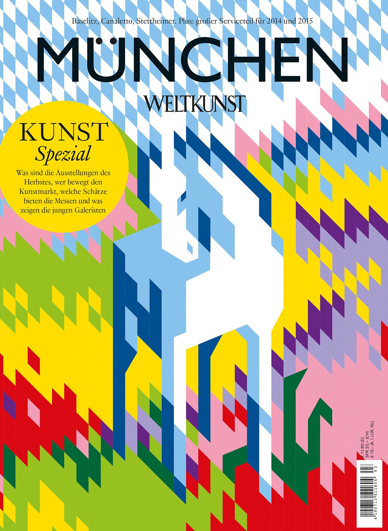 Christoph Niemann, Blaues Pferd nach Franz Marc, Weltkunst-Cover 2014