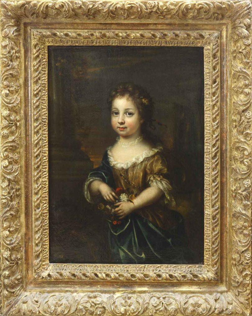 Hofmaler des 18. Jh., Porträt wohl Wilhelmine, Schwester des späteren Freidrich II., als Kind, eines von zwei Gegenstücken, Öl/Lwd., 46x33cm (Foto: Quentin, Berlin)