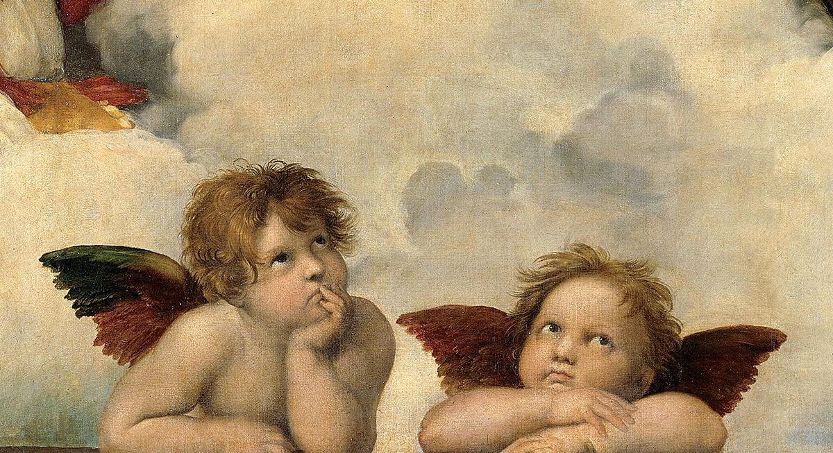 Detail: Raffael, Die Sixtinische Madonna, 1512/13, Öl auf Leinwand; 269,5 x 201 cm Gemäldegalerie Alte Meister, Staatliche Kunstsammlungen Dresden, Aufnahme: Estel, Klut