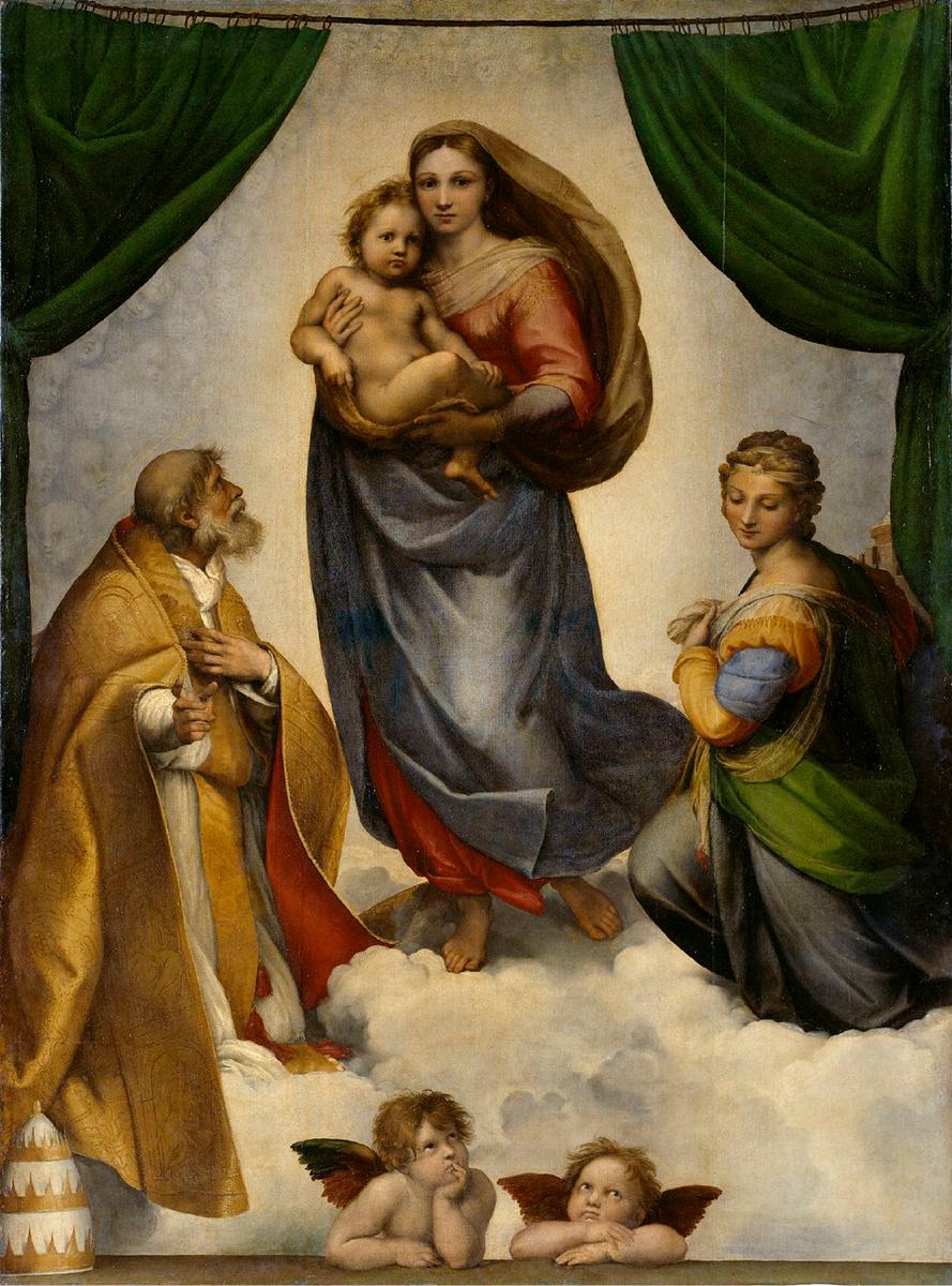 Raffael, Die Sixtinische Madonna, 1512/13, Öl auf Leinwand; 269,5 x 201 cm Gemäldegalerie Alte Meister, Staatliche Kunstsammlungen Dresden, Aufnahme: Estel, Klut