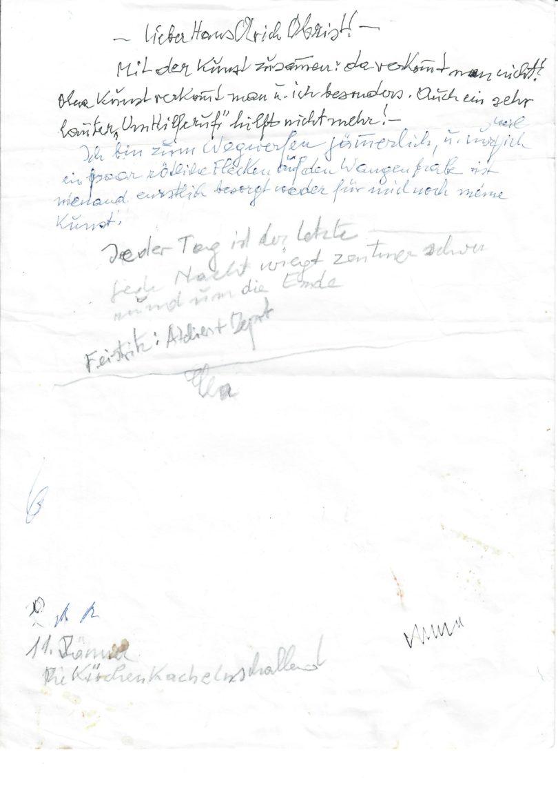 Unvollendeter Brief von Maria Lassnig an Hans Ulrich Obrist (Foto: Archiv Maria Lassnig Stiftung)