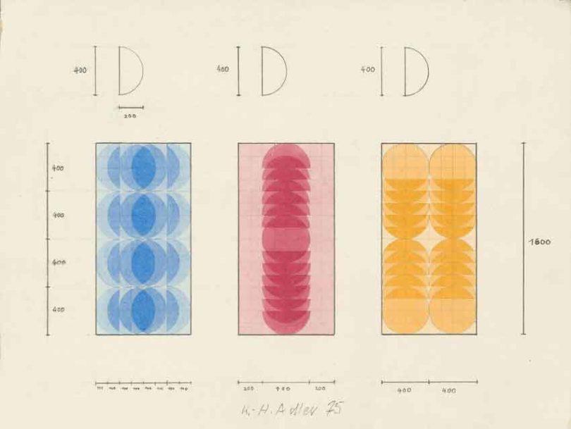Konkrete Kunst und Kunst am Bau gingen Hand in Hand: Entwürfe für seriell gefertigte Glaseinsätze in Haustüren, 1975 (Abb.: Galerie Eigen + Art, Leipzig / Berlin, Foto: Uwe Walter, Berlin)