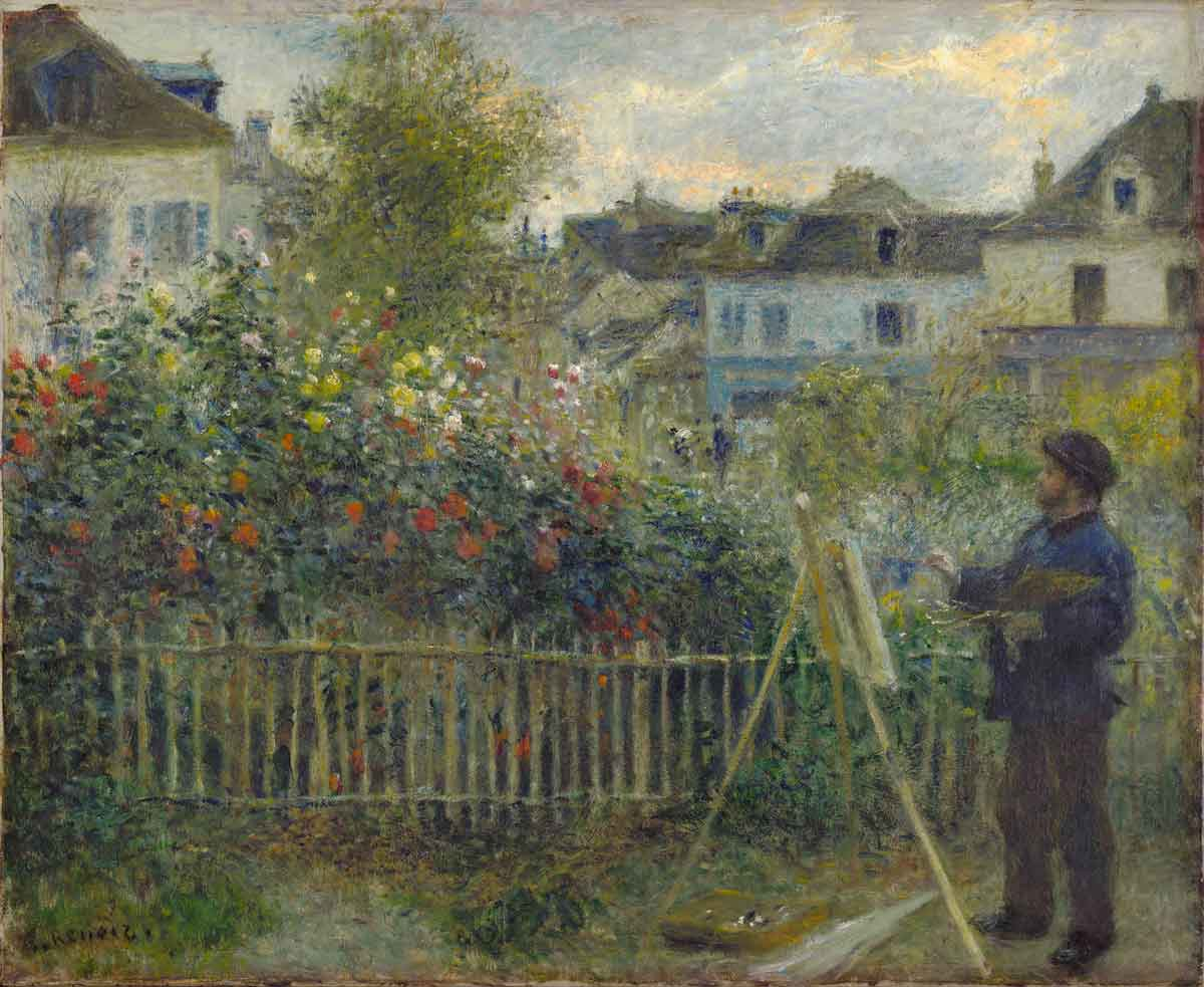"Pierre-Auguste Renoir, ""Claude Monet Painting in his Garden at Argenteuil"", 1873, Öl / Lwd.,, Wadsworth Atheneum Museum of Art, Bequest of Anne Parrish Titzell, 1957.614"