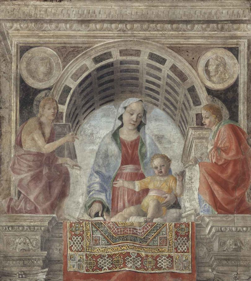 """Vincenzo Foppa (1427/30–1515/16), """"Madonna und Kind mit Johannes d. Täufer und Johannes Evangelist"""", Fresko, 192x173cm (Abb.: Pinacoteca di Brera, Mailand)"""