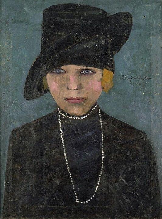 """Felix Nussbaum, """"Junge, rotblonde Frau in Schwarz mit Hut und Perlenkette"""", Galerie Bassenge, Berlin"""